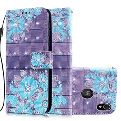 Blue Flower 3D Painted Leather Wallet Case for Motorola Moto E6