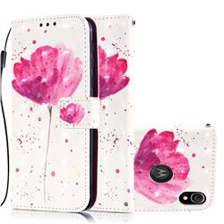 Watercolor 3D Painted Leather Wallet Case for Motorola Moto E6