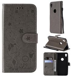 Embossing Bee and Cat Leather Wallet Case for Motorola Moto E6 - Gray