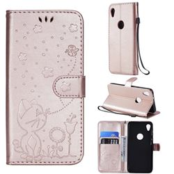 Embossing Bee and Cat Leather Wallet Case for Motorola Moto E6 - Rose Gold