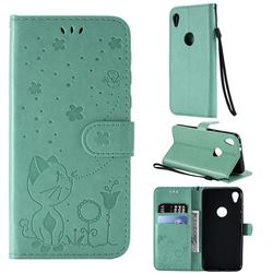Embossing Bee and Cat Leather Wallet Case for Motorola Moto E6 - Green