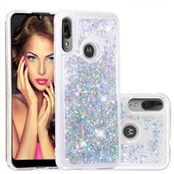 Dynamic Liquid Glitter Quicksand Sequins TPU Phone Case for Motorola Moto E6 Plus - Silver