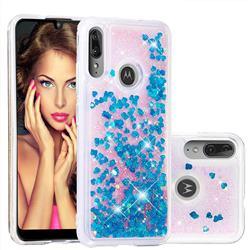Dynamic Liquid Glitter Quicksand Sequins TPU Phone Case for Motorola Moto E6 Plus - Blue