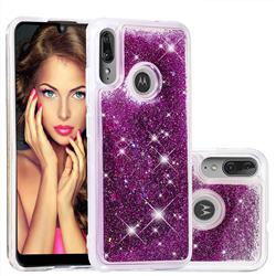 Dynamic Liquid Glitter Quicksand Sequins TPU Phone Case for Motorola Moto E6 Plus - Purple