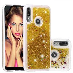 Dynamic Liquid Glitter Quicksand Sequins TPU Phone Case for Motorola Moto E6 Plus - Golden