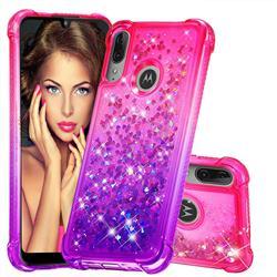 Rainbow Gradient Liquid Glitter Quicksand Sequins Phone Case for Motorola Moto E6 Plus - Pink Purple