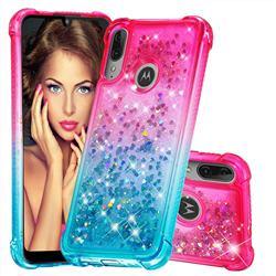 Rainbow Gradient Liquid Glitter Quicksand Sequins Phone Case for Motorola Moto E6 Plus - Pink Blue