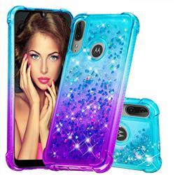 Rainbow Gradient Liquid Glitter Quicksand Sequins Phone Case for Motorola Moto E6 Plus - Blue Purple