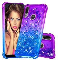 Rainbow Gradient Liquid Glitter Quicksand Sequins Phone Case for Motorola Moto E6 Plus - Purple Blue