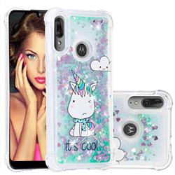 Tiny Unicorn Dynamic Liquid Glitter Sand Quicksand Star TPU Case for Motorola Moto E6 Plus