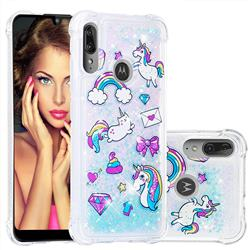 Fashion Unicorn Dynamic Liquid Glitter Sand Quicksand Star TPU Case for Motorola Moto E6 Plus
