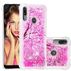 Pink Cherry Blossom Dynamic Liquid Glitter Sand Quicksand Star TPU Case for Motorola Moto E6 Plus