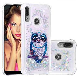 Sweet Gray Owl Dynamic Liquid Glitter Sand Quicksand Star TPU Case for Motorola Moto E6 Plus