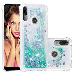 Dynamic Liquid Glitter Sand Quicksand TPU Case for Motorola Moto E6 Plus - Green Love Heart