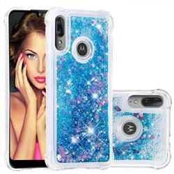 Dynamic Liquid Glitter Sand Quicksand TPU Case for Motorola Moto E6 Plus - Blue Love Heart