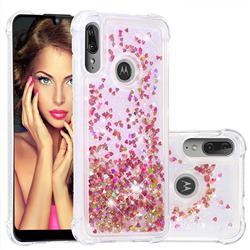 Dynamic Liquid Glitter Sand Quicksand TPU Case for Motorola Moto E6 Plus - Rose Gold Love Heart