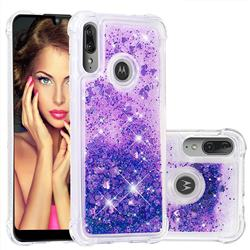 Dynamic Liquid Glitter Sand Quicksand Star TPU Case for Motorola Moto E6 Plus - Purple