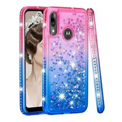 Diamond Frame Liquid Glitter Quicksand Sequins Phone Case for Motorola Moto E6 Plus - Pink Blue