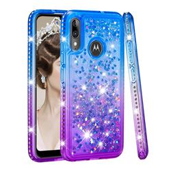 Diamond Frame Liquid Glitter Quicksand Sequins Phone Case for Motorola Moto E6 Plus - Blue Purple