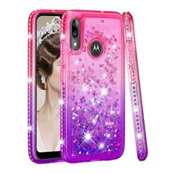 Diamond Frame Liquid Glitter Quicksand Sequins Phone Case for Motorola Moto E6 Plus - Pink Purple
