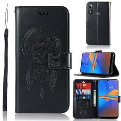 Intricate Embossing Owl Campanula Leather Wallet Case for Motorola Moto E6 Plus - Black