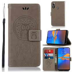 Intricate Embossing Owl Campanula Leather Wallet Case for Motorola Moto E6 Plus - Grey