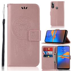 Intricate Embossing Owl Campanula Leather Wallet Case for Motorola Moto E6 Plus - Rose Gold