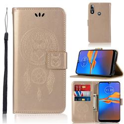 Intricate Embossing Owl Campanula Leather Wallet Case for Motorola Moto E6 Plus - Champagne