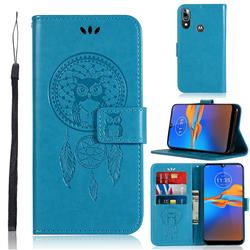 Intricate Embossing Owl Campanula Leather Wallet Case for Motorola Moto E6 Plus - Blue