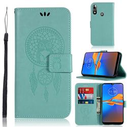 Intricate Embossing Owl Campanula Leather Wallet Case for Motorola Moto E6 Plus - Green