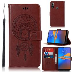 Intricate Embossing Owl Campanula Leather Wallet Case for Motorola Moto E6 Plus - Brown