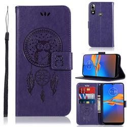 Intricate Embossing Owl Campanula Leather Wallet Case for Motorola Moto E6 Plus - Purple