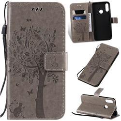 Embossing Butterfly Tree Leather Wallet Case for Motorola Moto E6 Plus - Grey