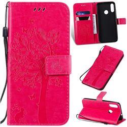 Embossing Butterfly Tree Leather Wallet Case for Motorola Moto E6 Plus - Rose