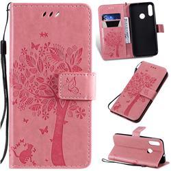 Embossing Butterfly Tree Leather Wallet Case for Motorola Moto E6 Plus - Pink