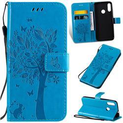 Embossing Butterfly Tree Leather Wallet Case for Motorola Moto E6 Plus - Blue