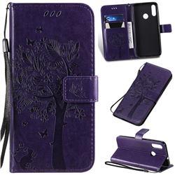 Embossing Butterfly Tree Leather Wallet Case for Motorola Moto E6 Plus - Purple