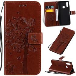 Embossing Butterfly Tree Leather Wallet Case for Motorola Moto E6 Plus - Coffee
