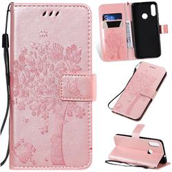 Embossing Butterfly Tree Leather Wallet Case for Motorola Moto E6 Plus - Rose Pink