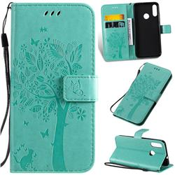 Embossing Butterfly Tree Leather Wallet Case for Motorola Moto E6 Plus - Cyan