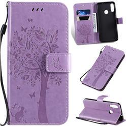 Embossing Butterfly Tree Leather Wallet Case for Motorola Moto E6 Plus - Violet