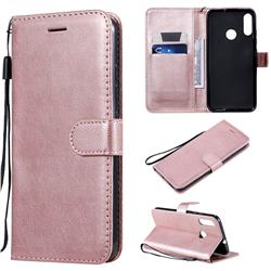 Retro Greek Classic Smooth PU Leather Wallet Phone Case for Motorola Moto E6 Plus - Rose Gold