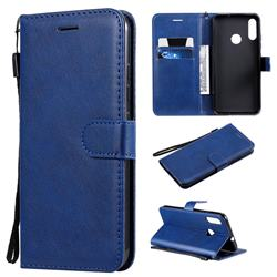 Retro Greek Classic Smooth PU Leather Wallet Phone Case for Motorola Moto E6 Plus - Blue