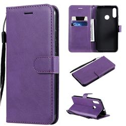 Retro Greek Classic Smooth PU Leather Wallet Phone Case for Motorola Moto E6 Plus - Purple