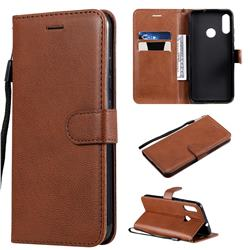Retro Greek Classic Smooth PU Leather Wallet Phone Case for Motorola Moto E6 Plus - Brown
