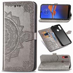 Embossing Imprint Mandala Flower Leather Wallet Case for Motorola Moto E6 Plus - Gray