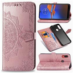Embossing Imprint Mandala Flower Leather Wallet Case for Motorola Moto E6 Plus - Rose Gold