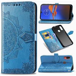 Embossing Imprint Mandala Flower Leather Wallet Case for Motorola Moto E6 Plus - Blue