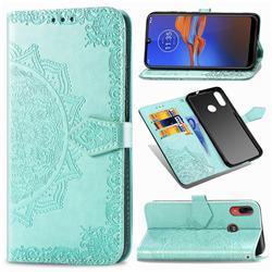 Embossing Imprint Mandala Flower Leather Wallet Case for Motorola Moto E6 Plus - Green