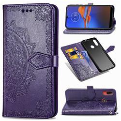 Embossing Imprint Mandala Flower Leather Wallet Case for Motorola Moto E6 Plus - Purple